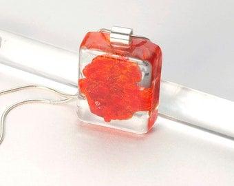 Vanadinite necklace, Vanadinite pendant necklace, Vanadinite Resin silver chain necklace, Red pendant necklace, Saint Valentine jewelry gift