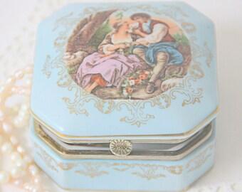 Vintage Light Blue Porcelain Trinket Box, Fragonard Decor