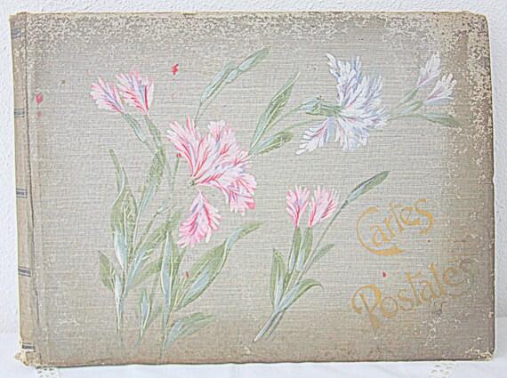 Antique French Postcard Album, Photo Album, Fabric Cover, 63 Pages