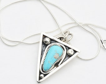 Sleeping Beauty Turquoise Trangular Pendant in Sterling Silver