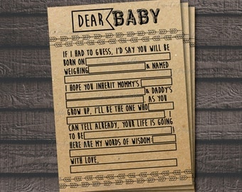 Baby Shower MadLibs Printable Game, Woodland Theme, Rustic Theme, Kraft Paper Background, Fill In The Blanks, Woodland Animals, Boho