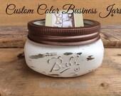 Painted Mason Jar. Business Card Holder. Paper Clip Holder. Desk/office/business counter decor. Gift. Pencil Holder, Vase, Rustic Decor.