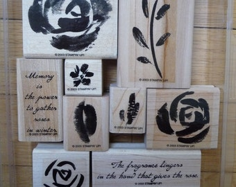 Stampin' Up! Two-Step ROSES IN WINTER Mounted Stamp Set of 9 flower leaf stem rubber stamping handmade card making