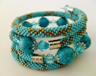 Crochet beaded bracelet. ''TURQUOISE'' FREE SHIPPING.
