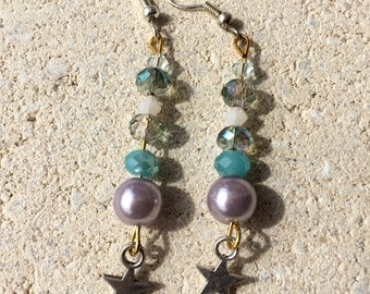 dangling earrings bluish or red