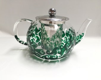 Hand painted Glass Teapot with metal lid & strainer