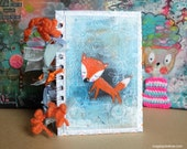 Fox.Notepad. Mixed Media. Handmade cover. A6. Wire bound. Notebook.