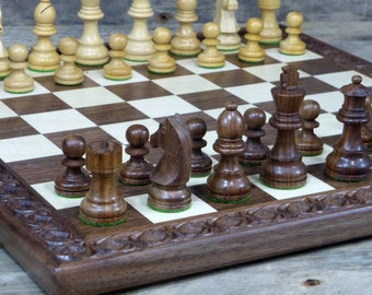 Wooden chess set | carved wooden chess board with wooden chess pieces
