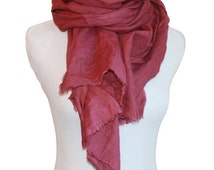 Sangria Hand-Dyed Linen Scarf / Women's Scarves / Red Scarf / Red Linen Scarf / Spring Scarf / Red Linen Scarf