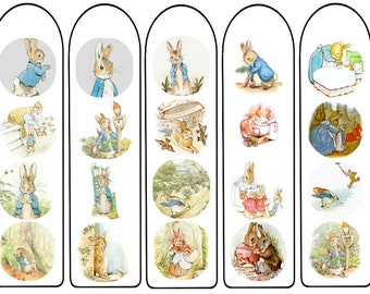 Peter Rabbit bookmarks digital download, lovable Beatrix Potter character