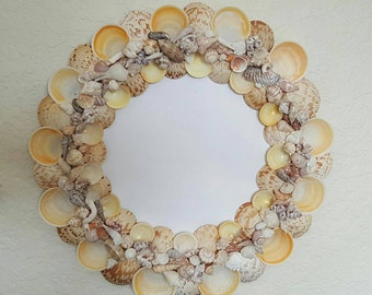 Seashell mirror, beach decor,wall decor