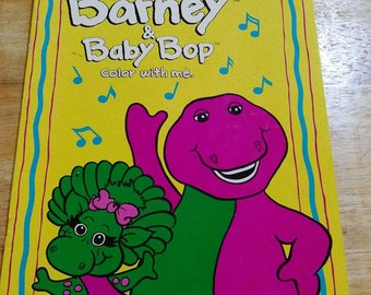 RARE Barney And Baby Bop Coloring Book Paperback 1992 Vintage Dinosaur