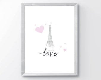 Eiffel Tower Paris Illustration Print - Eiffel Tower Art - Minimal Paris Print - Modern Nursery Decor - Girls Room Decor - Paris Wall Art