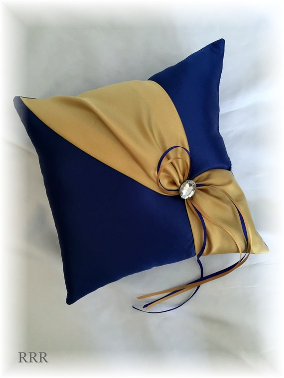 Royal blue and gold wedding ring pillow blue wedding pillow for Blue and gold pillows