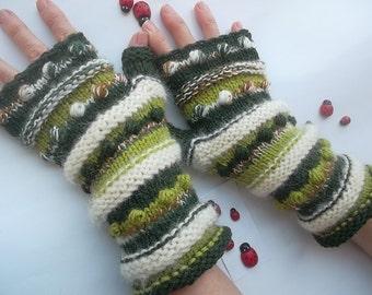 Women L 20% OFF Fingerless OOAK Mittens Women Striped Warm Accessories Gloves Hand Knitted Gift Elegant Feminine Wrist Warmers Winter 884