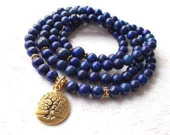 Lapis Lazuli Mala Necklace, 108 Mala Beads Meditation Necklace, Yoga Bracelet, Gold Tree of Life Mala - Communication, Self-Expression