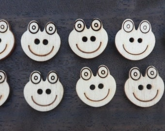 Wooden Frog Buttons (pack of 5 or 10)