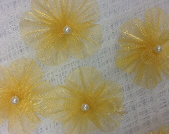 30 Pcs Organza Flower Appliques Glittering Pearls