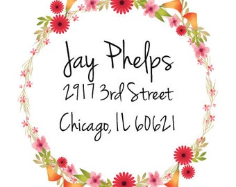 Return address Labels with flowers,custom return address labels, flowers address labels, address stickers, custom address stickers\