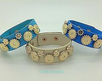Leather Steampunk Gear Bracelet / Leather Cuff Bracelet / Gear Bracelet / Blue, Cream, Royal Blue Leather Bracelets