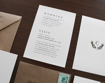 Olive Branch Info Card, Olive Branches Information, Classic Information Card, Simple Insert Card, Accommodations Card