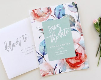 Calligraphy Save the Date   Floral Save the Date Card, botanical save-the-date, save the date, custom save the date, printable save the date