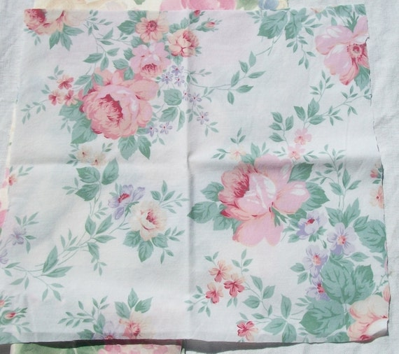 Bundle Vintage French Fabric 1940 s Floral material Summer Roses Cotton