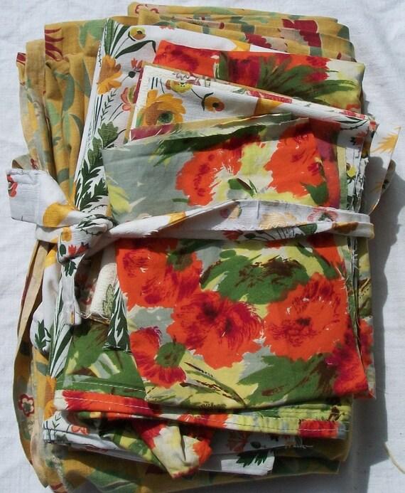 Bundle of Vintage French 1930s Fabric Art Deco Cottage Floral Textiles