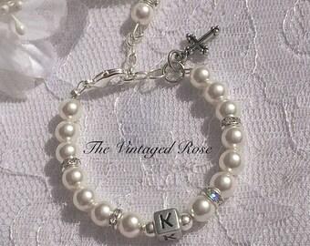 First Holy Communion Gift, Holy Communion Gift, Baptism, Goddaughter, Daughter Swarovski Pearl Cross Charm Bracelet