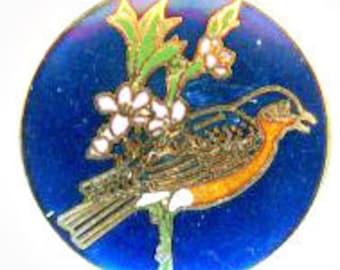 Enamel Bird Button