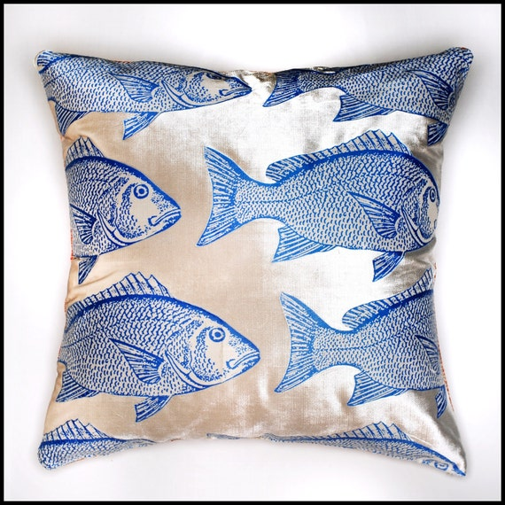 Blue fish pillow cover silver fabric extra large pillow
