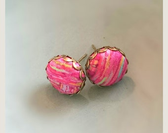 no.56 Stud Liberty Fabric button earrings - Pink Drawing