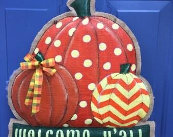 Fall Pumpkins Painted Burlap Door Hanger