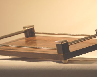 Tray wood and chrome Art deco