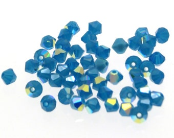 Swarovski 4mm Caribbean Blue Opal AB bicone beads 24pcs, Swarovski bicone beads, Caribbean Blue Opal AB Beads