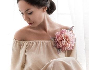 Silk Flower Corsage,silk Peony brooch, pink silk peony, hat, dress or hair accessories. Handmade silk flowers. Statement Flower Headpiece A
