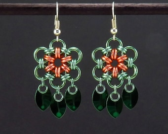 Spring Colors, Chainmail Flowers, Flower Earrings, Seafoam with Peach Chainmaille Flower, Green Scalemaille Charms, Chain Maille Jewelry