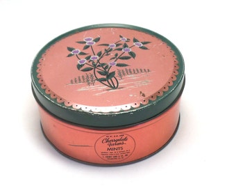 Vintage Cherrydale Farms Mint Tin - Pink with Flowers