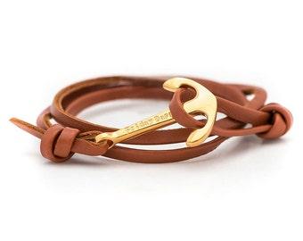 Brown leather Rope Bracelet, Anchor Bracelet, Men's Bracelet, Women's Bracelets.Leather Bracelet.