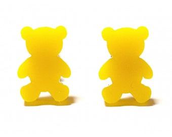 Gummi Bear Stud Earrings - Yellow // Gummi Bear Studs / Gummi Bear Earrings / Teddy Bear Earrings / Teddy Bear Studs / Gummi Bears