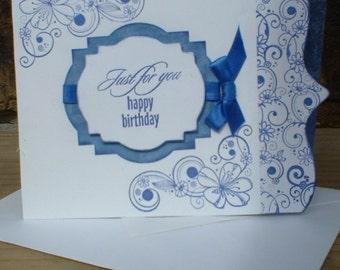 Bithday Blue Floral Cutaway Card