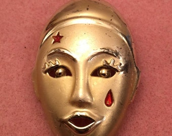 Gold-Tone Mime Brooch