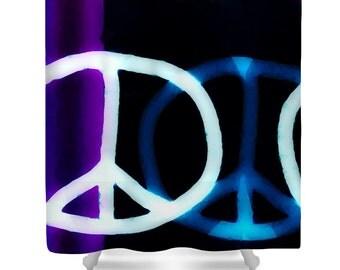 Hippie Shower Curtain,Blue Black Purple White Shower Curtain,Designer Shower  Curtains,Peace
