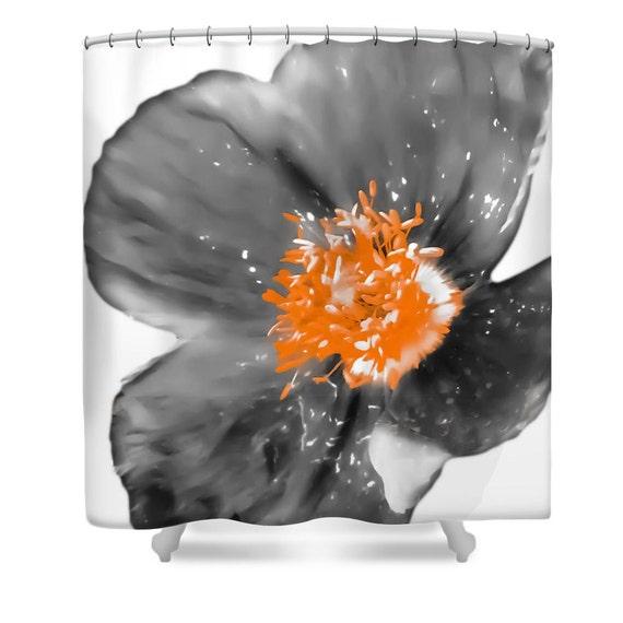 Grey Orange Poppy Shower CurtainWhite Gray FlowerFloral