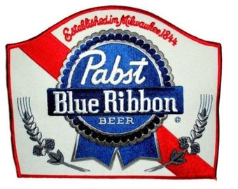 """Pabst Blue Ribbon Beer Uniform Work Jacket Back Patch Backpack etc 8""""x 6 3/4""""  for your crafts clothing Officially licensed Vintage Rare PBR"""