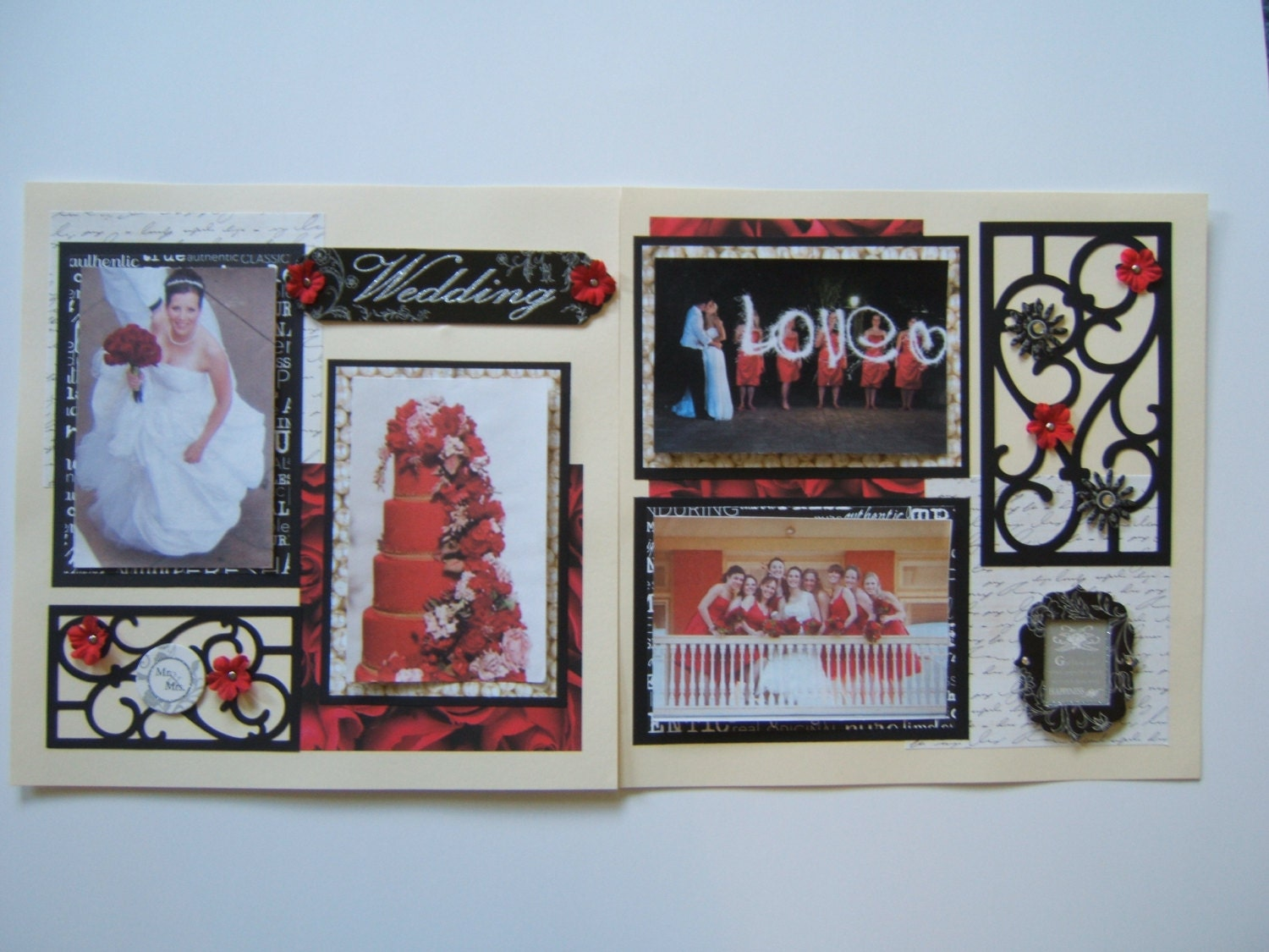 Wedding Scrapbook Pages Premade Red By MadeForYouScrapbooks