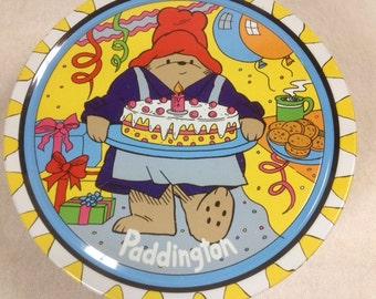 Paddington Bear Birthday Cake Tin Vintage Paddington Bear Tin 1992 Yellow Tin