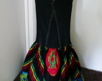 Black and Fuchsia African Wax and Denim Maxi Skirt, Long Skirt, Dashiki Skirt - Made to Order