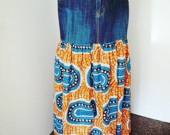 Mara Orange and Blue Denim and Ankara Maxi Skirt, African Wax Print Maxi Skirt, Women's Long Skirt - Plus Size
