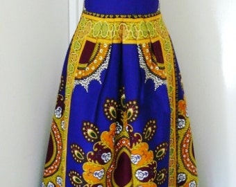 Cobalt and Gold Multi Ankara Maxi Dress, Ladies' Long Dress, African Wax Dress - Made to Order